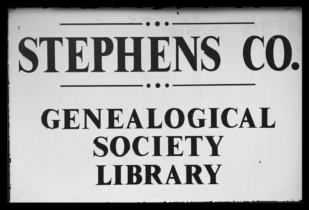 Stephens Co. Genealogical Society Library sign