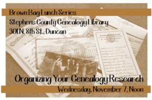 Brown Bag Lunch Series: Organizing your Genealogy Research @ Stephens County Genealogy Library