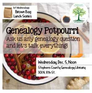 Brown Bag Lunch Series: Genealogy Potpourri @ Genealogy Library