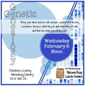 Brown Bag Lunch Series: Genetic Genealogy @ Stephens County Genealogy Library