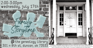Summer Reading @ the Genealogy Library: Family Story Time: July 17th, 2019 @ Genealogy Library