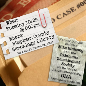 Annual Meeting of the SCGS: Interpreting DNA; Tuesday, October 29th @ Genealogy Library