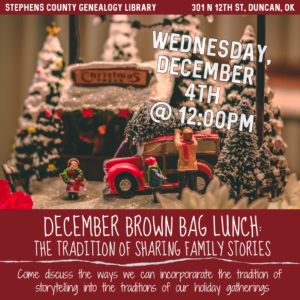Brown Bag Lunch Series: Holiday Traditions; December 4th, 2019 @ Genealogy Library