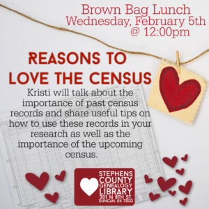 February Brown Bag Lunch: Reasons to Love the Census- February 5th, 2020 @ Genealogy Library