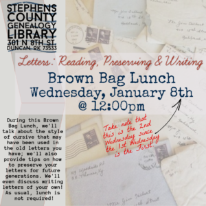 Letters: Reading, Preserving & Writing; January 8th, 2020