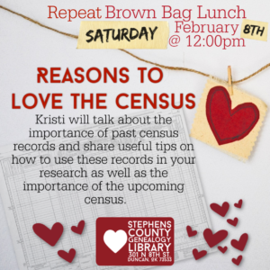 February Brown Bag Lunch Repeat: Reasons to Love the Census- February 8th, 2020 @ Genealogy Library