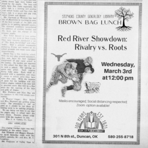 March 3rd Brown Bag Lunch: Red River Showdown. Rivalry vs. Roots!